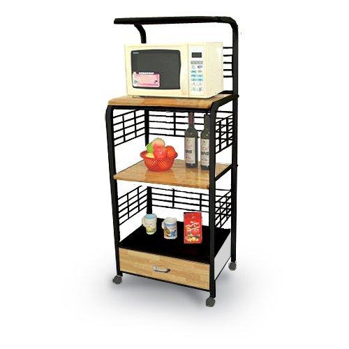 Cheap Black Kitchen Microwave Cart with Power Strip (B004BMJ6X0)