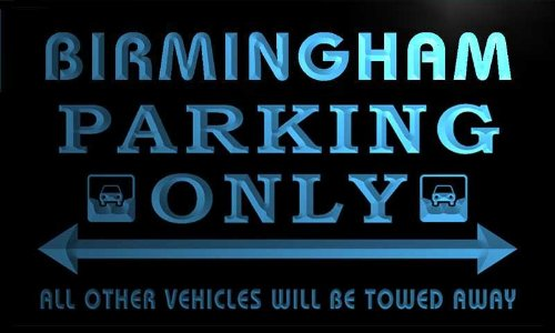 Qo2147-B Birmingham Personalized Parking Only Car Bar Beer Neon Led Sign