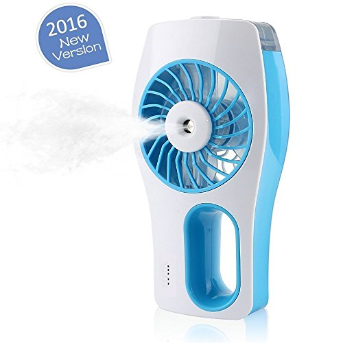 Great Polly Mini Beauty Replenishment Fan Handheld USB Mini Misting Fan with Personal Cooling Humidifier (Blue)