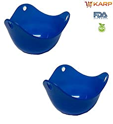 """KARPâ""""¢ Silicone Egg Poacher Cups Molds - BPA free, FDA approved, 100% food grade silicone,Set of 2 BPA Free Poaching Pods for Cooking Perfect Poached Eggs - Microwave or Stovetop Egg Cooker - Blue"""