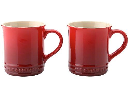 Le Creuset of America Stoneware Mug, 12-Ounce, Cherry, Set of 2