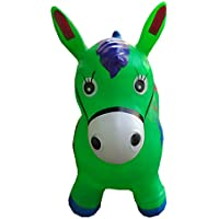 Green Bouncy Horse For Kids, L&H Kids Inflatable Horse Hopper (Inflatable Space Hopper, Jumping Hors