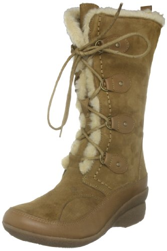 Hush Puppies Women's Yasmine Camel Suede Fur Trimmed Boots H2526635F 6 UK