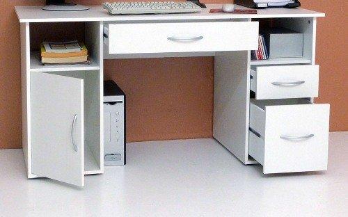 3-3-2-1681: deutsche Prod. – PC-Tisch – Computertisch – weiss dek. – Schreibtisch – 3 Schubl. – 1 Tür günstig bestellen