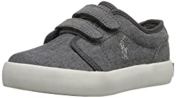 Polo Ralph Lauren Kids Ethan Low EZ Fashion Sneaker (Toddler), Grey, 8.5 M US Toddler