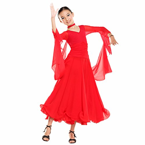 [FERE8890 Girl's Dancewear Competition Ballroom Modern Dancing Latin Practice Dress Red XXL] (Dance Costumes For Praise And Worship)