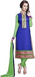 VM Trendz Women's Chanderi Cotton Semi-Stitched Salwar Suit (VMT-JL27, Parrot Green & Royal Blue)