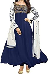 Vipani Fashions Womens Faux Georgette Semi Stitched Salwar Suit (Kar_Blue_2_Blue)