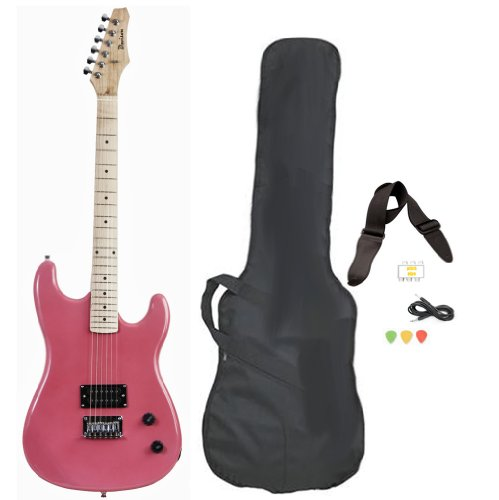 Pink Full Size Electric Guitar With Case Strap Pics And Pitchpipe Tuner