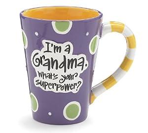 12 Oz Grandma Coffee Mug with I'm A Grandma, What's Your Super Power Great Gift? by Burton & Burton