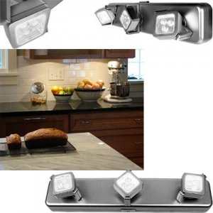 Wireless 9 led under cabinet lighting system with pivoting for Kitchen spotlights amazon