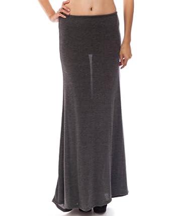 Charcoal Textured Ladies Long Maxi Skirt Elastic Waist