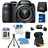 Fujifilm FinePix S4200 24x Optical Zoom 14 MP 3 inch LCD Digital Camera 16 GB Bundle