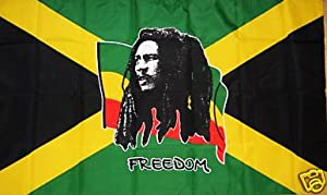 NEW 5 x 3 FOOT JAMAICA JAMAICAN FLAG WITH BOB MARLEY