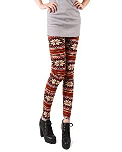 Women's Soft Knitted Tights/Leggings - Multicolored w/ Stripes and Snowflakes from AMC