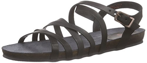 Fred de la BretoniereFred elegant horizontal strap flat comfort sandal MB - Sandali a Punta Aperta Donna , Nero (Nero (nero)), 37