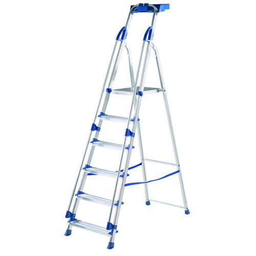 Abru Blue Seal Aluminium Platform Stepladders - 6 Tread(10506)