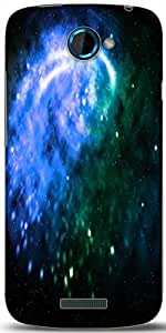 Snoogg Blue Galaxy Background Designer Protective Back Case Cover For HTC One S