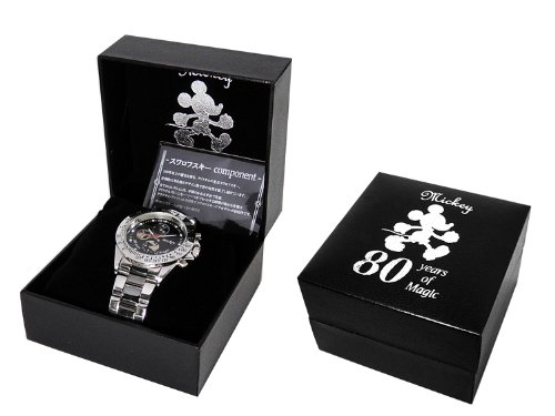 Disney ディズニー ミッキー 生誕80周年 記念 シークレット ミッキー腕時計 ガンメタ ブラック×ホワイト 文字盤 スワロフスキー 黒 白