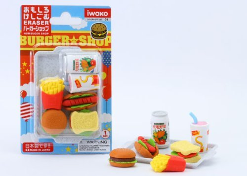 Iwako Japanese Eraser Set - Fast Food Assortment - 1