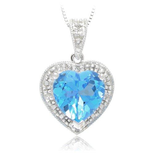 "10k White Gold Swiss Blue Topaz and Diamond Heart Pendant, 18"""