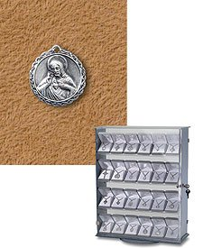 Sterling Silver Jesus Scapular Medal (Pendant-Charm) Patron Saint with 18