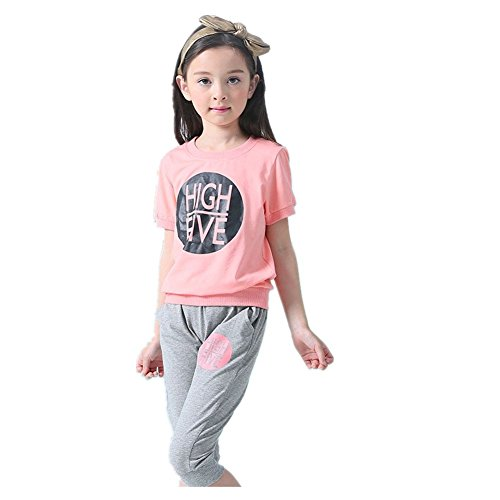 ftsucq-girls-cotton-short-sleeve-top-shirt-with-pants-two-pieces-setspink160