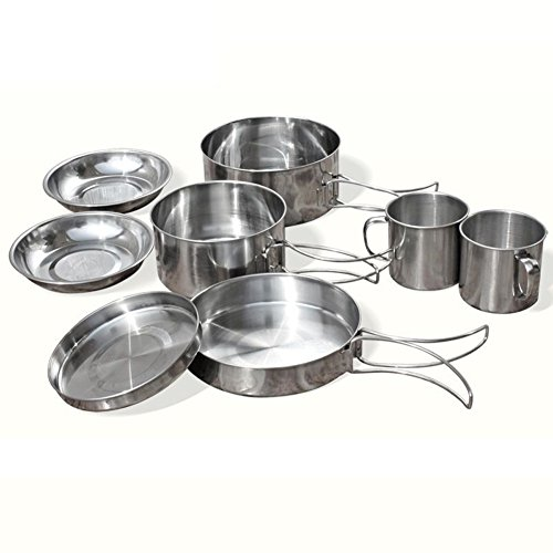 Outdoor Camping Cookware Hiking Cooking Picnic Bowl Pot Pan Set 8pcs (Stainless Steel Pot Hiking compare prices)