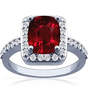 18K White Gold Cushion Cut Ruby Ring With Sidestones (GIA Certificate)