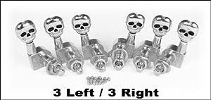 6pc set of Chrome SKULL 3 Left/3 Right Guitar Tuners/Machine Heads