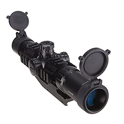 Pinty 1.5-4x30mm Tactical Chevron Reticle Riflescope Red&Blue&Green Illuminated with 30mm Mount by Pinty