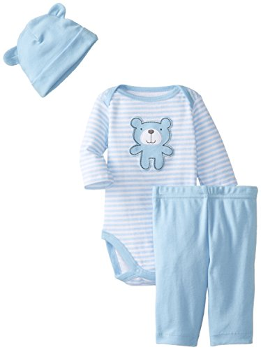 Gerber Baby-Boys Newborn 3 Piece Long Sleeve Bodysuit Pant And Cap Set, Blue Bear, 0-3 Months
