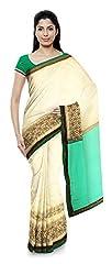 Priyam Sarees Women's Net And Georgette Saree (Light Green & Cream)