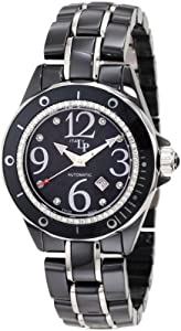 Lucien Piccard Women's 27107BK Celano Automatic Diamond Accented Black Mother-Of-Pearl Dial Black Ceramic Watch