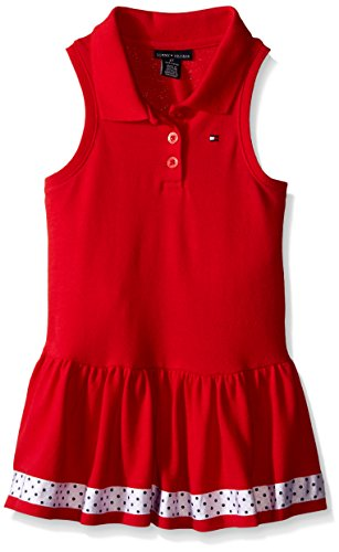 Tommy Hilfiger Big Girls' Pique Knit Dress, Red, 3T