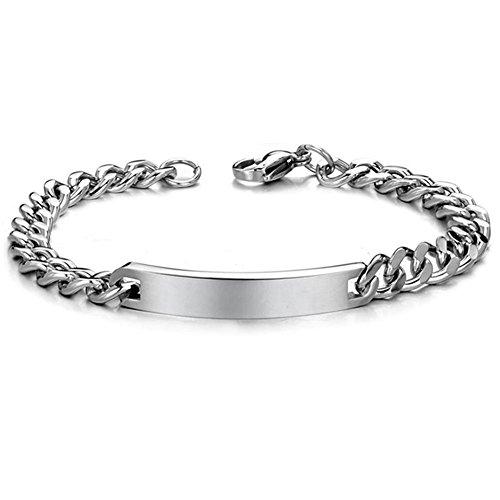 Vicney Jewellery-Coppia di bracciali da donna con braccialetto in acciaio INOX con incisione personalizzata per Lover, Braccialetto da uomo, cod. SLB604M