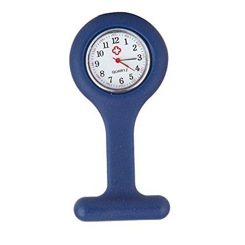 Navy Blue Silicone Nurse Doctor Clip Brooch Fob Pin Pendant Quartz Pocket Watch Clock Gift