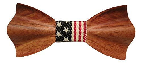 TrendyLuz-USA-American-Flag-Patriotic-Wooden-Bow-Tie-Handcrafted-Wood-Collection