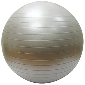 Burst Resistant Yoga/Exercise Ball with Pump, Silver 55 cm Diameter