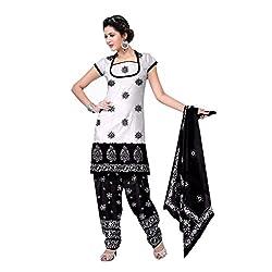 Muac New Black & White Pure JodhPuri Printed Cotton Semi Stitched Suit ( Dress ) + Navratri Gift