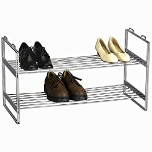 Household Essentials Stackable Two-Tier Shoe Rack, Chrome