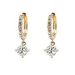 Ocaler 18K Gold and Silver Plated Crystal Hook Earrings