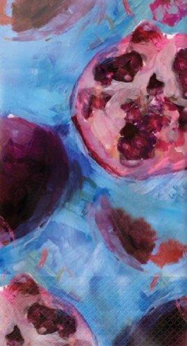 Elise Premium Patterned Paper Guest Towels/Large Napkins, 16 Count, Fruit Expressions - Pomegranate