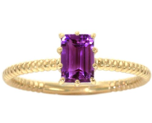 14K Yellow Gold Octagon Gemstone Solitaire Stackable Ring-Amethyst, size5