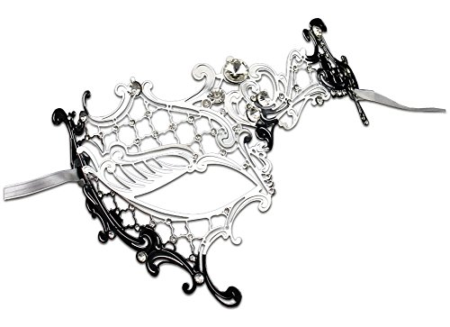 [Luxury Mask Women's Signature Phantom Of The Opera Masquerade Mask, Silver/Clear Stones, One Size] (Silver Mask)