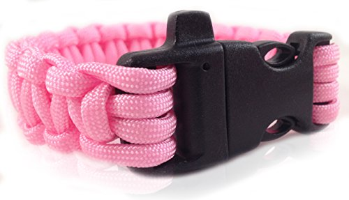 Personal Protection Attack or Rape Whistle. 550 Paracord Bracelet TSA, Air Travel Friendly, Med Alert, Be Safe! Wristband Covers Self Defense Emergency Preparedness Survival Gear Alarm Running Shoes Shoelaces Towing Child Safety Outdoor Camping Ties (Neon Pink)