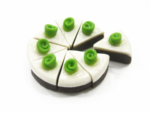 Doll House Miniature Food Green Slice Cake 8 Cuts Rose Supply Deco Jewelry Charms