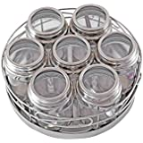 Priya Stainless Steel Masala Pot With Transperent Lead And Spoons (set Of 7pc)