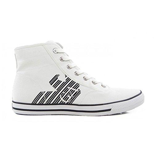 Scarpe uomo EA7 EMPORIO ARMANI, sneaker alta canvas bianche art. 288029 6P299 (41 1/3, Bianco)
