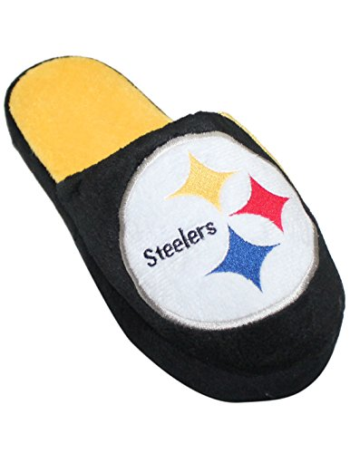 Nfl Pittsburgh Steelers Mens Lounge / House Slippers With Embroidered Logo S(7-8) Black